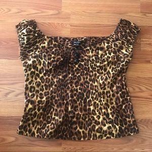 Leopard Print Pinup Blouse